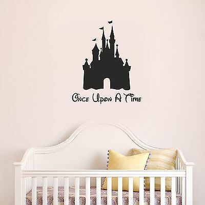 DISNEY CASTLE Once Upon A Time Wall Art - Girls Bedroom Cute Fun Decal Sticker