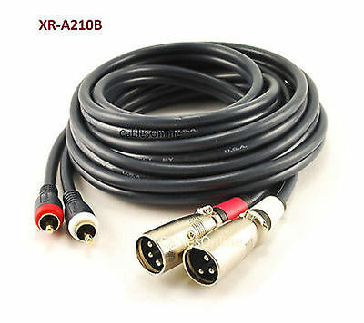 6ft XR-A106RA 2-XLR 3C Right-Angle Female to 2-RCA Male Stereo Audio Cable