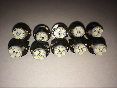 10x Fits Hyundai White 4 LED Socket Wedge Instrument Dashboard Panel Light NOS