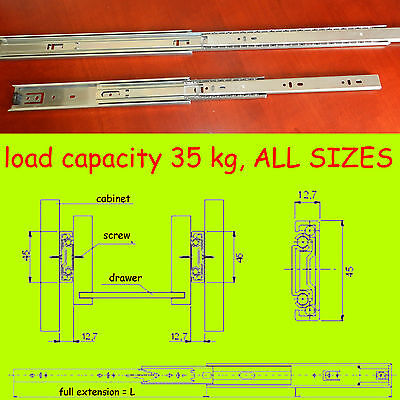 1 Pair Ball Bearing Drawer Runners Slides, Full Extension 35kg capacity H45