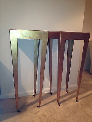BEAUTIFUL  PAIR OF ART DECO IRON GILT TALL SIDE TABLES OR CONSOLES