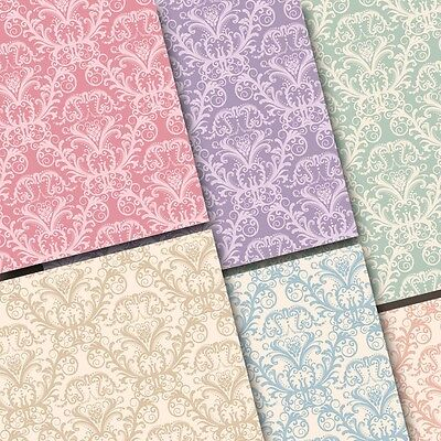 exclusive 48/ 24pc pastel color elegant Damask floral scrapbook paper 6 design