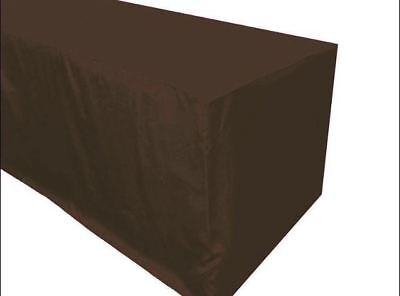 5' ft. Fitted Polyester Table Cover Trade show booth DJ Event TABLECLOTH - Brown