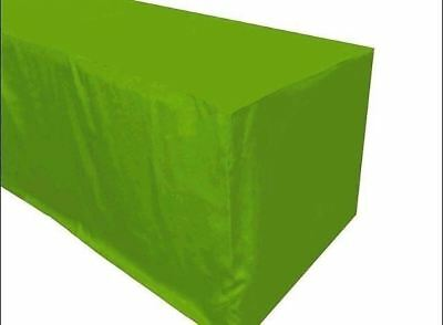 8' ft. Fitted Polyester TABLECLOTH Trade show Booth Dj Table Cover Apple Green