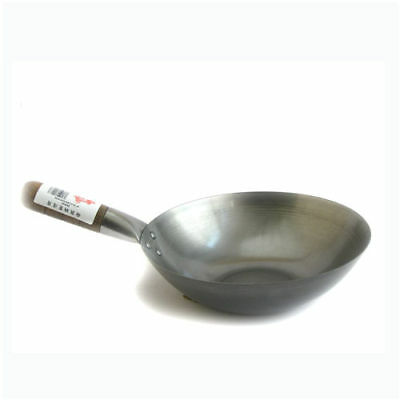"""8"""" Flat Based Carbon Steel Wok - Commercial Quality"""
