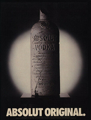 1988 ABSOLUT Original Vodka Clay Bottle VINTAGE AD