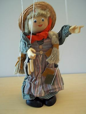 Vintage Tellon Collection Wooden String Marionette Puppet Girl - Excellent