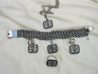 Vintage Mexican Fish Sterling Silver Bracelet, Earrings, Ring and Pendant Set