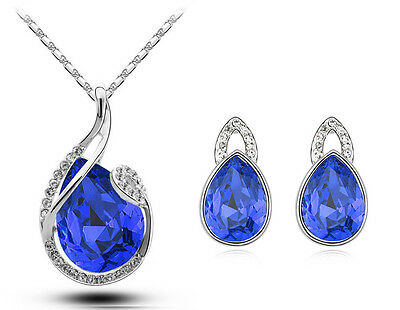 Silver & Royal Dark Blue Water Drop Jewellery Set Stud Earrings & Necklace S531