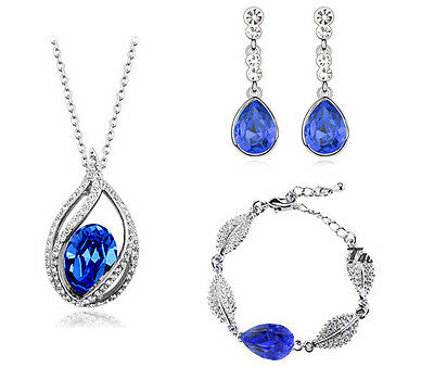 Royal Dark Blue Jewellery Set Crystal Drop Earrings, Bracelet & Necklace S554