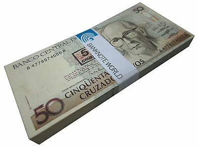 Brazil 50 Cruzeiros X 100 Pieces - PCS, 1990, P-223, UNC, Bundle, Pack