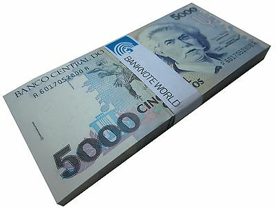 Brazil 5000 Cruzeiros X 100 Pieces - PCS, 1993, P-232c, UNC, Bundle, Pack