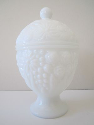 VTG Avon Milk Glass Sugar Bowl Covered Condiment Dish Floral Berry Fruit Jar