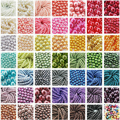 Top Quality smooth Glass Pearl Round Spacer Loose Beads 4mm/6mm/8mm/10mm