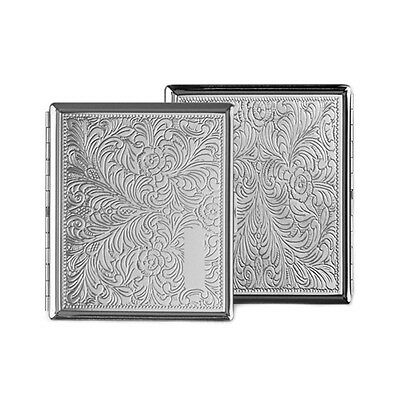 Patterned Double Sided Cigarette Case Chrome Holds 18 Cigarettes SMO966