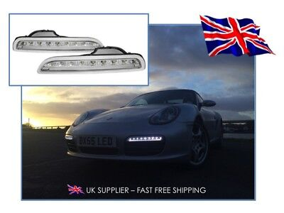 2005-2008 PORSCHE BOXSTER 987 LED DRL Daytime Running Lights - CLEAR - UK