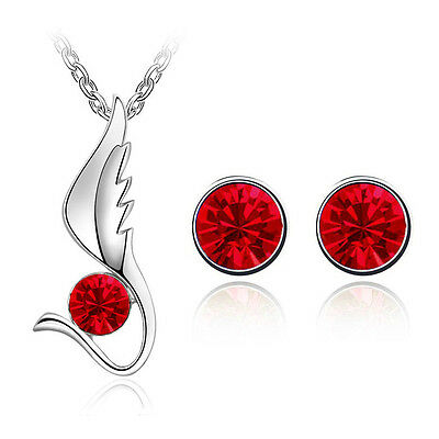 Red Jewellery Set Angel Wing Diamond Stud Earrings Pendant Necklace S519