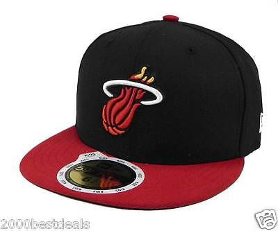 New Era 59Fifty Kids Cap Miami Heat 2 Tone Basic Black Red Fitted 5950 Hat