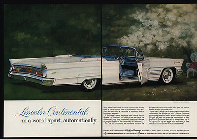 1960 LINCOLN CONTINENTAL Convertible Car - White Mark V - 2 Page VINTAGE AD