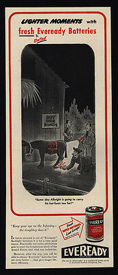 1945 EVEREADY Battery - WWII - U.S. Soldiers - Mule - Donkey - VINTAGE AD