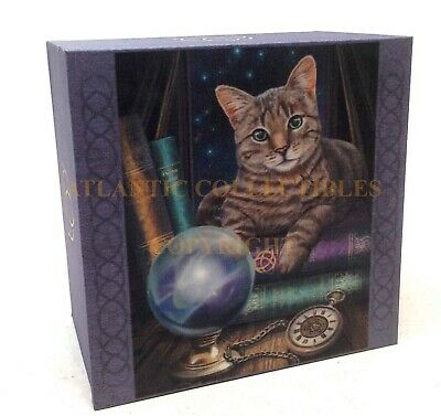 "Lisa Parker Mirror Box Crystal Ball and Fortune Teller Cat Feline 4""L Decor"
