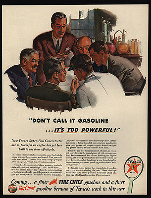 1944 TEXACO 100 Octane WWII Airplane Gasoline - Too Powerful - VINTAGE AD