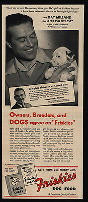 1948 FRISKIES Dog Food - Cute Dalmation Puppy Dog - RAY MILLAND - VINTAGE AD