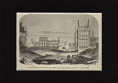 Antique matted print The bombardment of Brussels / gravure grand place Buxelles