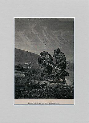 Antique woodcut print :russian carpenter Russia / return from work 1867 matted