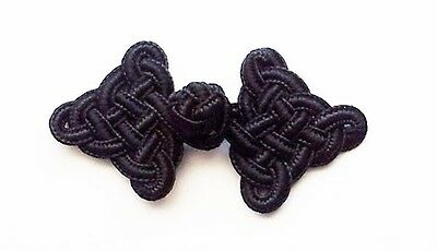10 pairs black lattice Chinese Frogs Closure buttons sewing Halloween costume