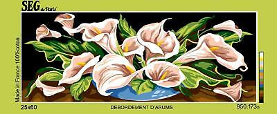 SEG de Paris Tapestry/Needlepoint Canvas – Spray of Lilies (Debordement D'arums)