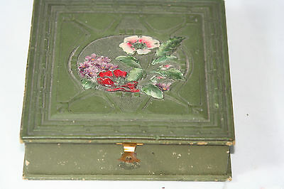 WOODEN ANTIQUE c1900's~WORK BOX w/  SEWING COTTON & SILK THREAD~~