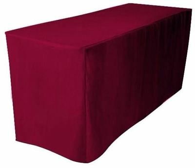 5' ft. Fitted Polyester Tablecloth Trade show Booth Wedding Table Cover Burgundy