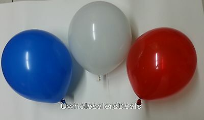 60 Latex Balloons Red White Blue Patriotic Tricolor 4th July Celebration 12""