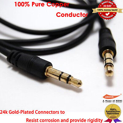YellowPrice Gold 3.5mm Car Stereo Audio Auxiliary Male to Male Cable, 3-Feet