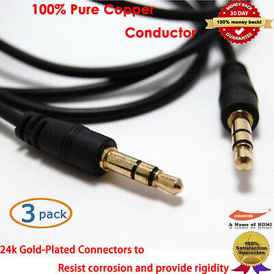 YellowPrice Gold 3.5mm Car Stereo Audio Aux Male to Male Cable, 3-Feet x 3pcs