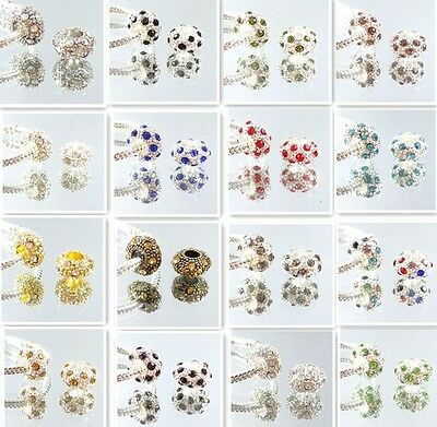 New 5pcs Silver Plated CZ Crystal Charm Loose Beads Fit European Bracelet