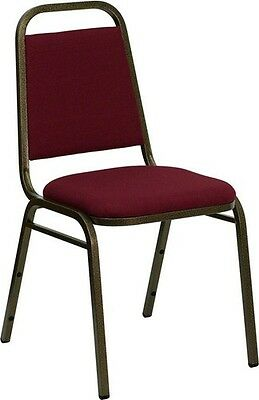 Trapezoidal Back Stacking Banquet Chair in Burgundy Fabric with Gold Vein Frame