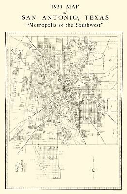 Old City Map - San Antonio Texas - National 1930 - 23 x 35.15
