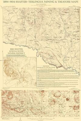 Topographical Map - Shafter Terlingua Texas Mining, Treasures 1904 - 23 x 34