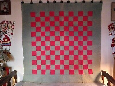 """""""CHECKERBOARD"""" QUILT: Blue & Terracotta Squares w Border, Single size: 66"""" x 72"""""""