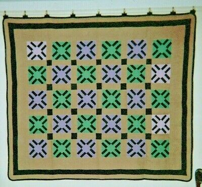 "Midwestern Amish ""ROMAN STRIPE"" Variation Quilt: 66"" x 76"", c.1920's, from Ohio."