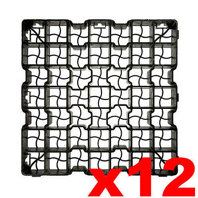 12 x Plastic Paving Driveway Grid Turf Grass Soil Gravel Protector Drainage Mat