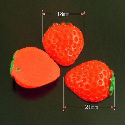 50pcs Resin  Cabochon Red Food Fruit Strawberry Craft Decor Accessories 38530