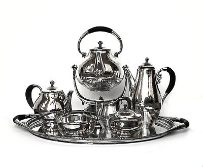 Georg Jensen Cosmos Pattern from 1930s Coffee & Tea Service. Set has 7 Pieces.