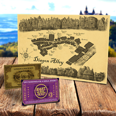 Harry Potter DIAGON ALLEY MAP Knight Bus & Hogwarts Express tickets for birthday