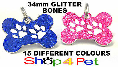 Pet ID Tag 34mm Bone TAGS, Reflective Glitter Dog Paw Design, ENGRAVING OPTIONAL