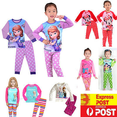 New Boy Girl Pyjamas Sleepwear Princess Elsa and Anna PJs Size 2,3,4,5,6,