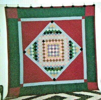 DIAMOND IN A SQUARE w. TRIP AROUND THE WORLD QUILT:  Lancaster Co., PA. Amish.