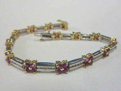 "Stunning Ladies 7.5"" 18ct 2 Colour Gold Ruby & 1ct Diamond Bracelet"